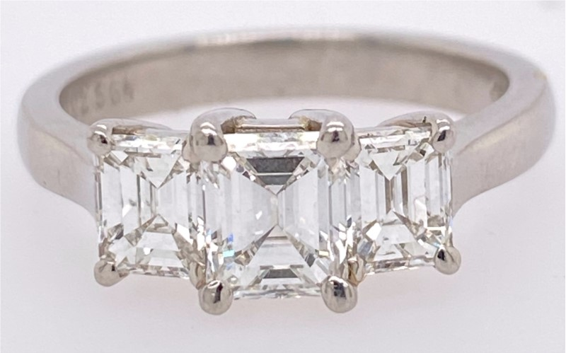Engagement Ring - Platinum 3-Stone Emerald-cut Diamond Ring. AGS Certified Center 0.73ct G/VS2 +2 Emerald-Cut Side Diamonds 0.88ctw