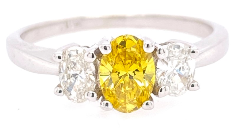 Engagement Ring - Ladies 18KW Gold 3-Stone Diamond Ring Center Fancy Yellow .50Ct Diamond White Side Diamonds .36Ctw