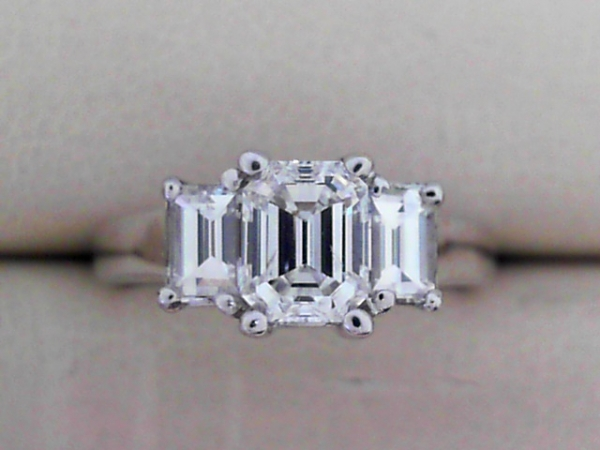 Engagement Ring - Ladies 14K White Gold 3 Stone Emerald Cut 1.49 Ctw White Diamond Ring: Center 0.84ct SI1/I, Two Side Diamonds 0.65ctw VS2/I