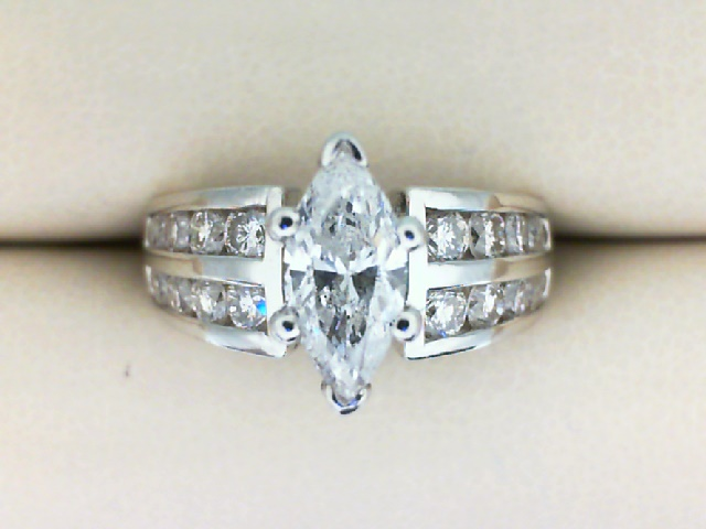 Engagement Ring - Ladies Platinum 2.21 CTW Diamond Ring: Center 1.01 Ct Marquise plus 1.20 CTW Diamonds In Double Channels
