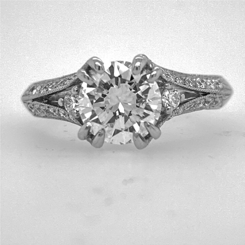 Engagement Ring - 18K W Engagement Ring: GIA Certified 1.23 Ct center SI1/H VG Brilliant in Diamond split shank mounting with 0.35 Ctw.