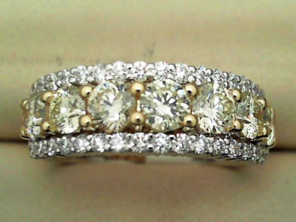Wedding Band - Lady's 14K W Band With 18K Y Center-Set Yellow Diamonds Framed With White Diamonds, 1.64 CTW