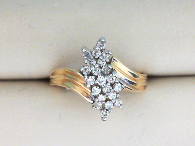 Fashion Ring - 14K Yellow Gold Free Form Wave Design Cluster Ring with .25CTW Diamonds