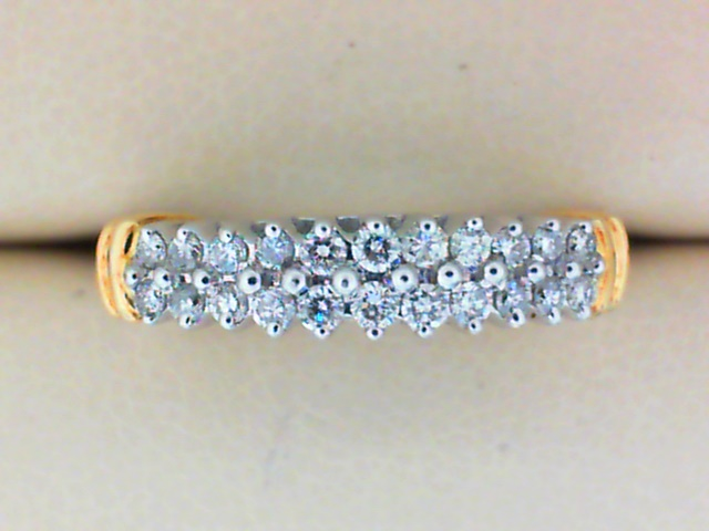 Fashion Ring - Ladies 14K White and Yellow Gold 0.25 ctw Cluster Diamond Band