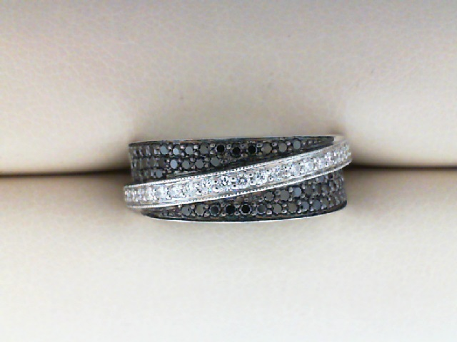 Fashion Ring - 14KW band with field of 1/3 CTW Black Diamonds with raised diagonal stripe of fine white diamonds.