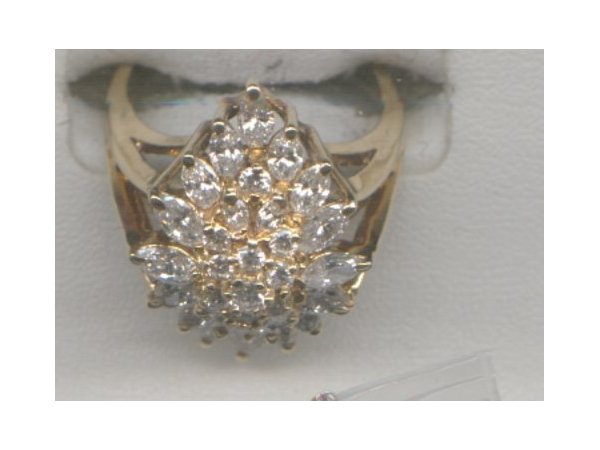 Fashion Ring - Lady's 14K Y Ring Featuring 2.06 CaratTotal Weight In Marquise And Round Diamonds