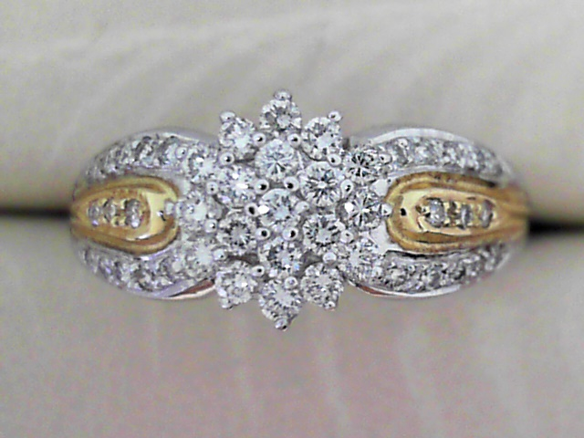 Fashion Ring - 14K White Gold Lady's Diamond 1/2 CTW Cluster Ring With Yellow Gold Accents,