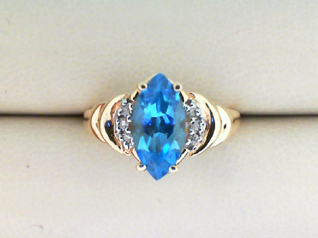 Fashion Ring - 14K Yellow Gold Blue Topaz and Diamond Ring