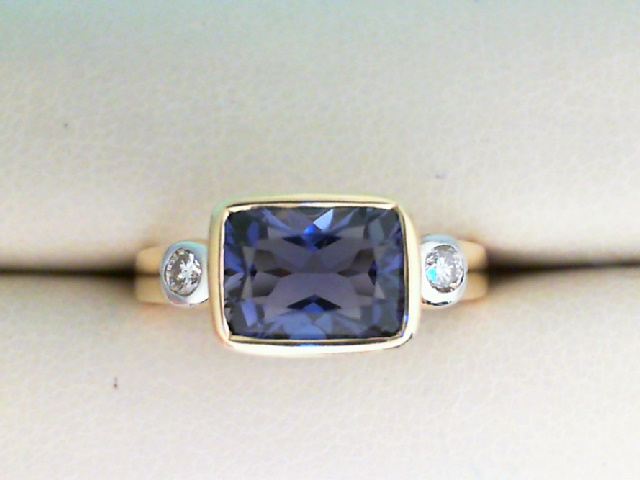 Fashion Ring - 14K Yellow Gold Rectangular Faceted Iolite Ring with Two Side Diamonds