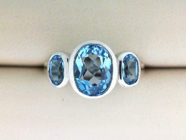 Fashion Ring - 14K White Gold 3 Stone Oval Blue Topaz Ring