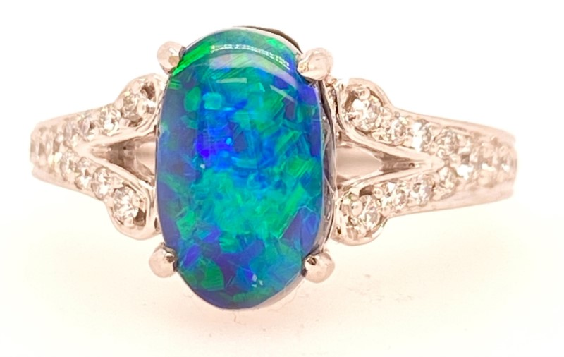 Fashion Ring - 18K White Gold Fine Black Opal And Diamond Beautiful Lady's Ring