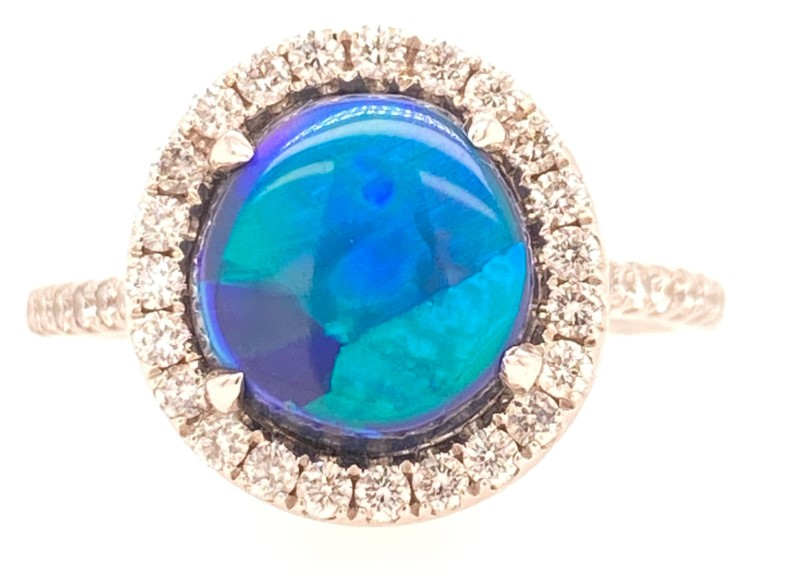 Fashion Ring - Lady's Black Opal And Diamond Ring In Platinum