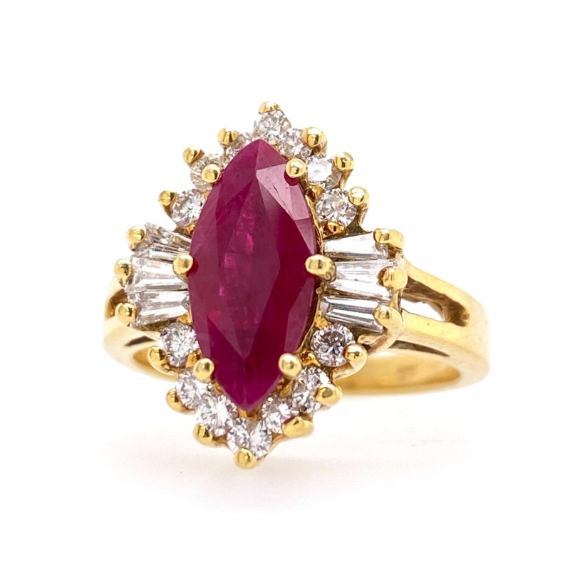 Fashion Ring - 18K Yellow Gold Ring With 1.77 Ct Navette Ruby And 0.54 Ctw In Round And Baguette Diamonds