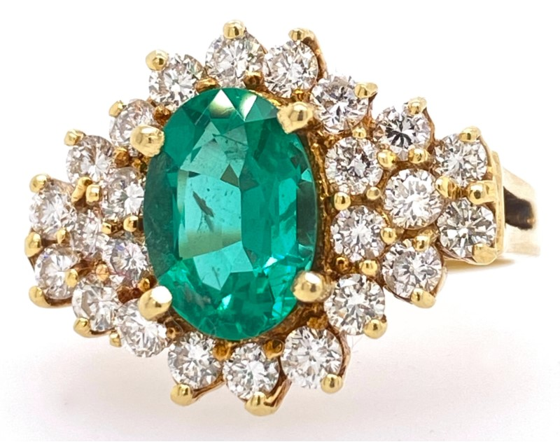 Fashion Ring - 18K Yellow Gold Ring With 1.70 ct Oval Emerald and 1.17 ctw Fine Diamond Frame
