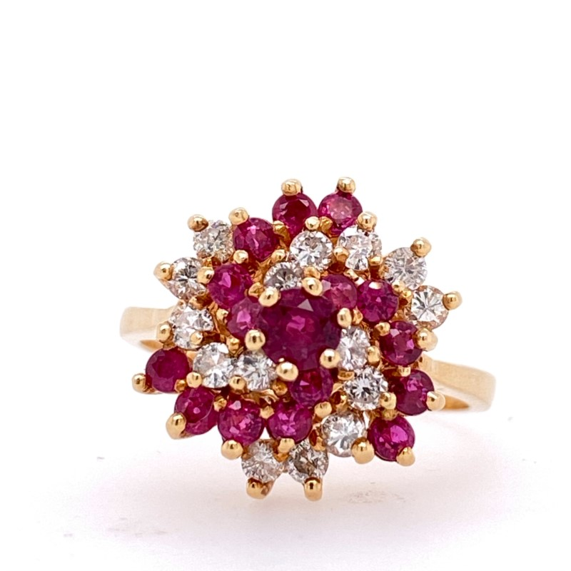 Fashion Ring - 14K Yellow Gold Geometric Ring Ruby/Diamond Swirls With 1.16 Ctw Ruby And 0.53 Ctw Dia