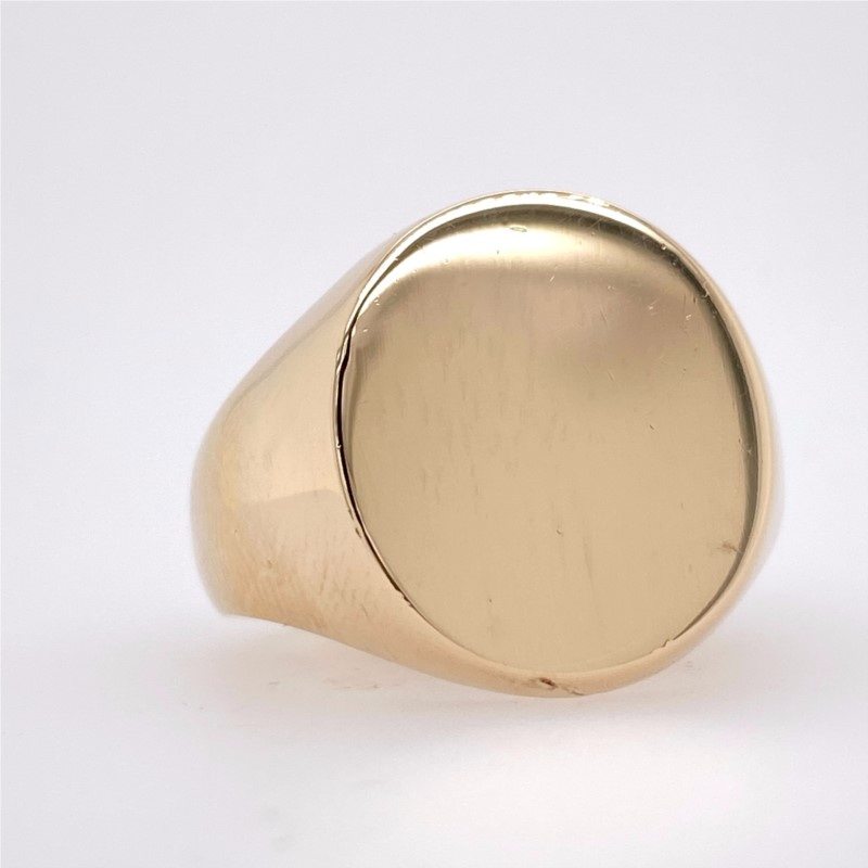 Fashion Ring - 14K Yellow Metal Gents Heavy Round Sig. Ring