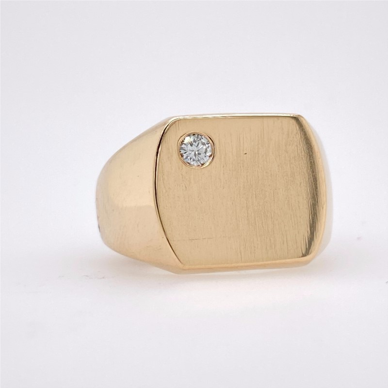 Fashion Ring - 14K Yellow Gold Gents Cushion Shape Signet Ring With Diamond Accent
