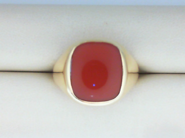 Fashion Ring - 14Ky Gold Gents Square Carnelian Ring