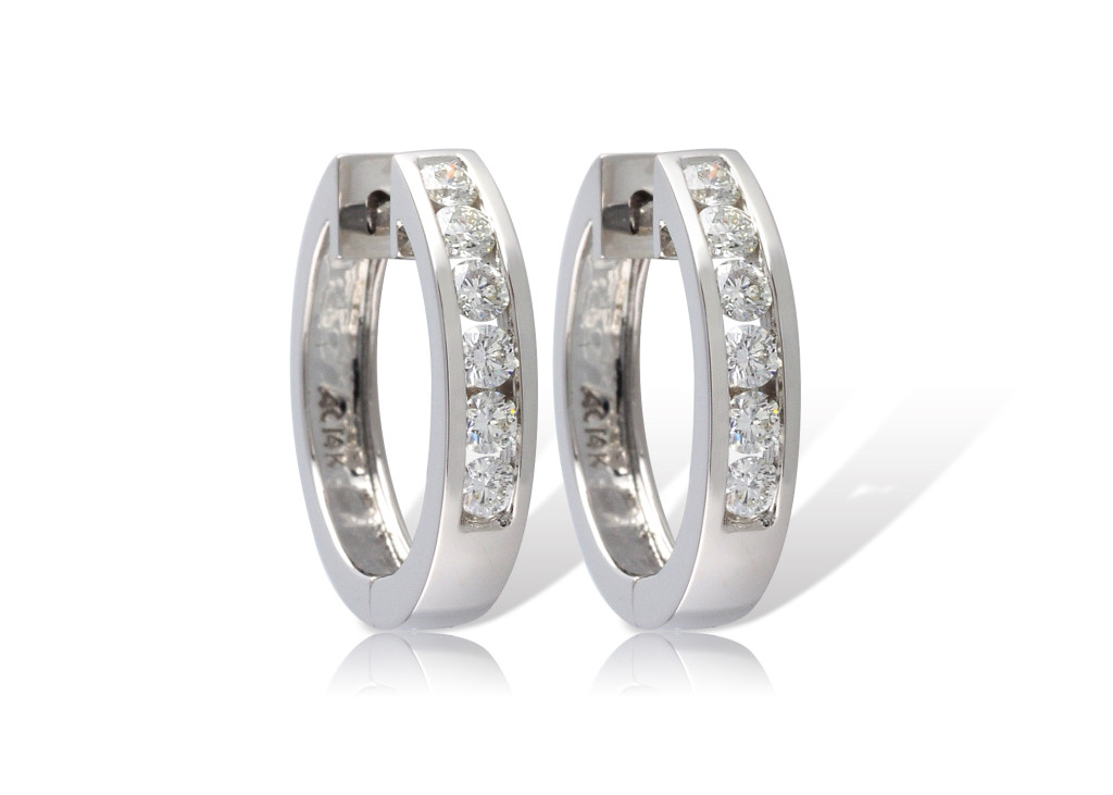 Diamond Fancy Earrings - 14Kw Gold Channel Hoop Earrings, Hinged Circles With 1 Ctw Fine Diamonds On Front