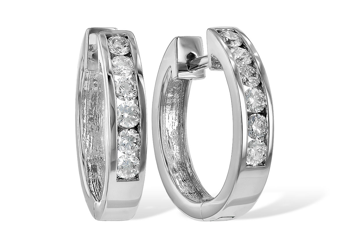 Diamond Fancy Earrings - 14K White Gold 0.50 ctw Diamond Channel Set Hoop Earrings