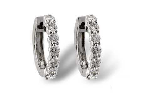Diamond Fancy Earrings - 14K White Gold 1 Ctw Diamond Shared Prong Hoop Earrings