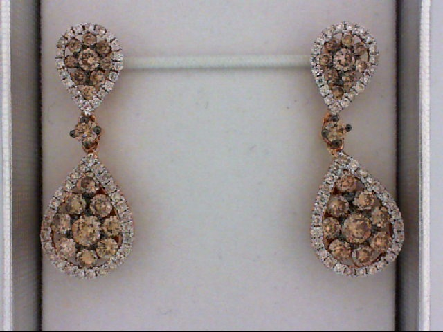 Diamond Fancy Earrings - 14K Rose Gold 0.45ct White Diamond And 1.35tw Chocolate Diamond Pave Teardrop Shape Drop Earrings