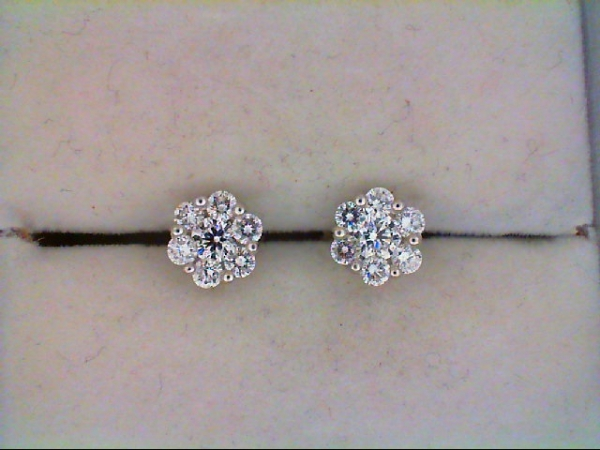 Diamond Fancy Earrings - 14K White Gold 1 CtTW Diamond Cluster Stud Earrings