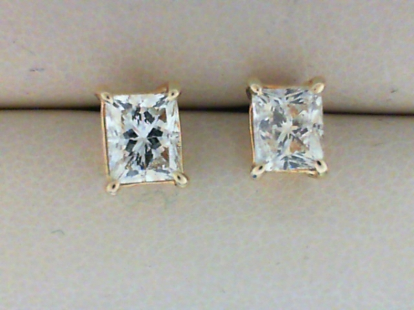 Diamond Stud Earrings - 14K Yellow Gold Rectangular Princess Cut Diamond Stud Earrings 2.02tw Si1/K + SI2/K Matched Pair, Threaded Posts