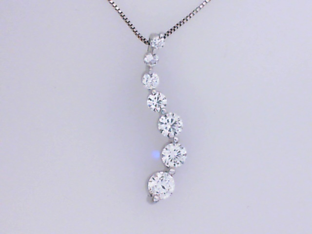 Pendant - 14K white gold 7-diamond Journey style necklace 3/4 Ctw on 14K chain