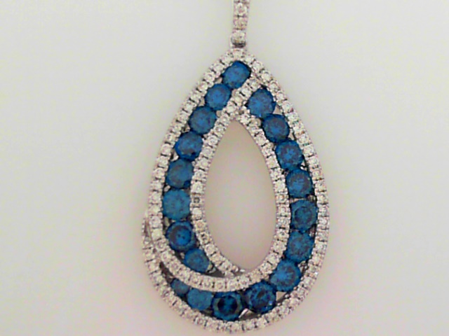 Pendant - 14K W Gold Open Pear-Form Pendant With White And Blue-Enhanced Diamonds Totaling 1.51 Carat And Diamond Set Bail, On 14K W Chain