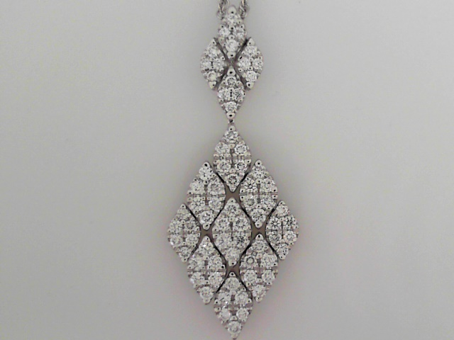 Pendant - 14K W Navette Hinged Pendant Pave Set With 1.25 Ctw Diamonds On 14K 18