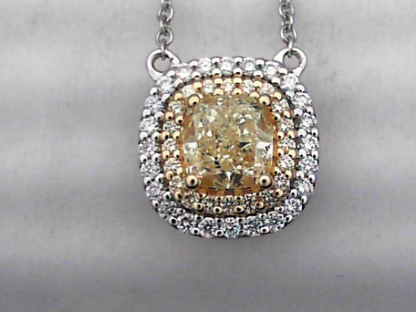 Pendant - 14K W Gold Necklace, Certified Fancy Yellow Diamond Center Framed In Golden And White Diamond Halos On A 14K W 18-Inch Chain; 0.95 CTW DIamonds