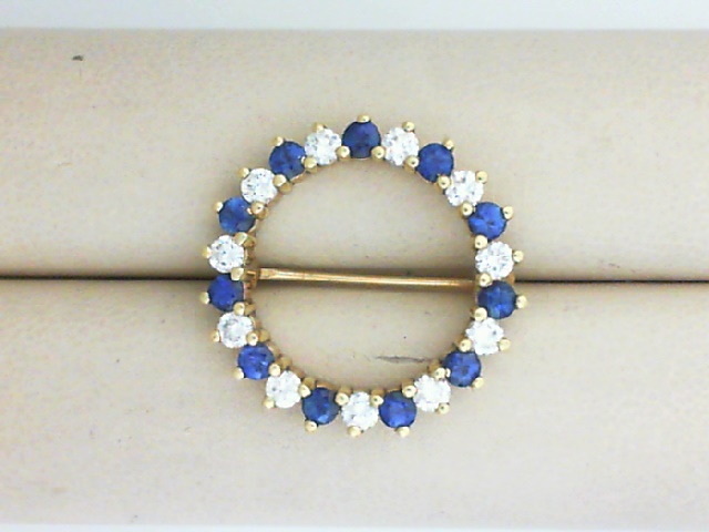 Pins - 18K GOLD CIRCLE PIN WITH 1.43 TWT FINE SAPPHIRES  AND 0.83 TWT DIAMONDS - ALTERNATING CIRCLE DESIGN