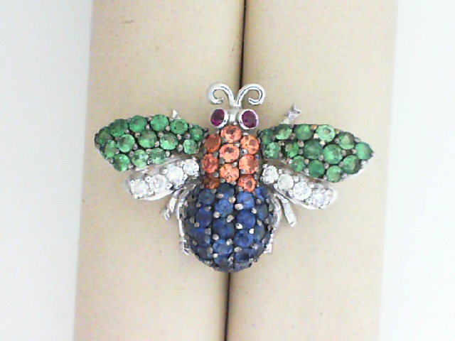 Pins - 18K White Gold Colored Bee Pin .25Ctw Ruby, .25Ctw Dia, 1.11Ctw Tsavorite, 2.05Ctw Y & B Sapphire