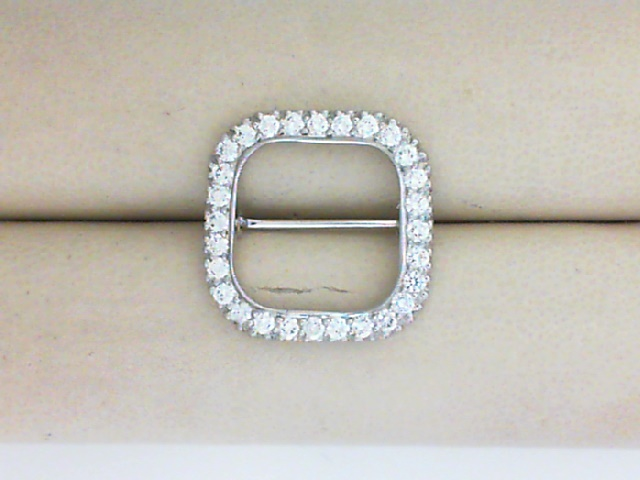 Pins - Platinum Open Cushion Pin With 0.75 Ctw Diamonds