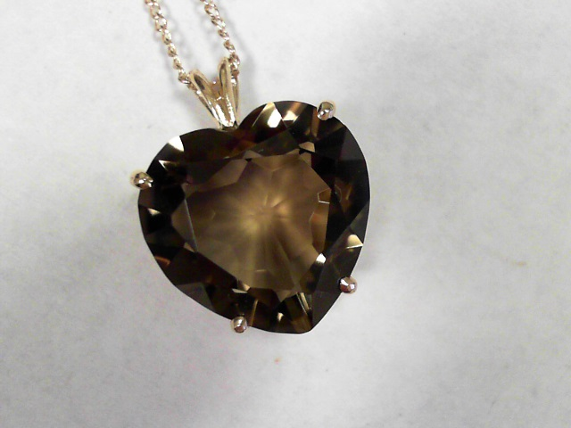 Pendants - 14K Yellow 20mm Smoky Quartz Pendant On A Gold 18 Inch Chain