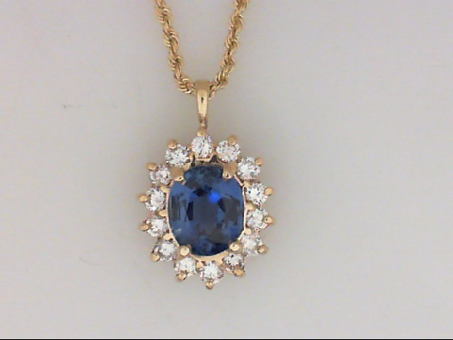 Pendants - 14K Yellow Gold Fine Blue Sapphire With Diamond Frame Pendant On A 14K 18