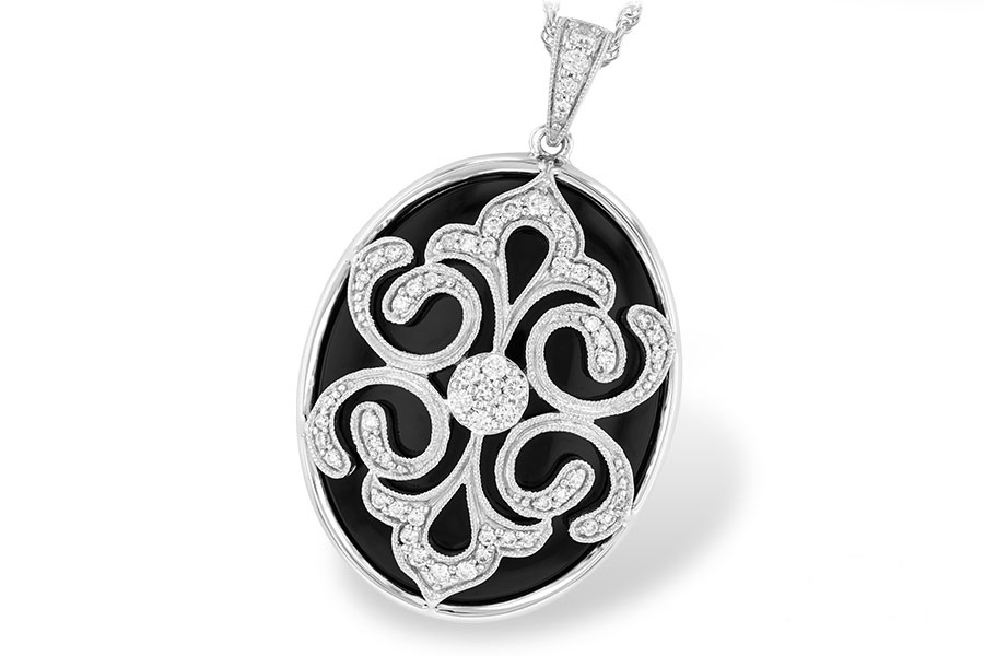 Pendants - Lady's 14K W Oval Black Onyx Pendant With Diamond Pierced Filigree Top And Bail, Grillwork Back, On A 14K W 18