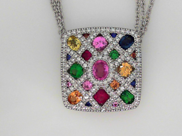Pendants - 14K W 21Mm Cushion Shaped Pendant With Diamonds And A Quilt Of Various Gems, Total 3.22 Carats, On A Triple Strand 14K W Chain
