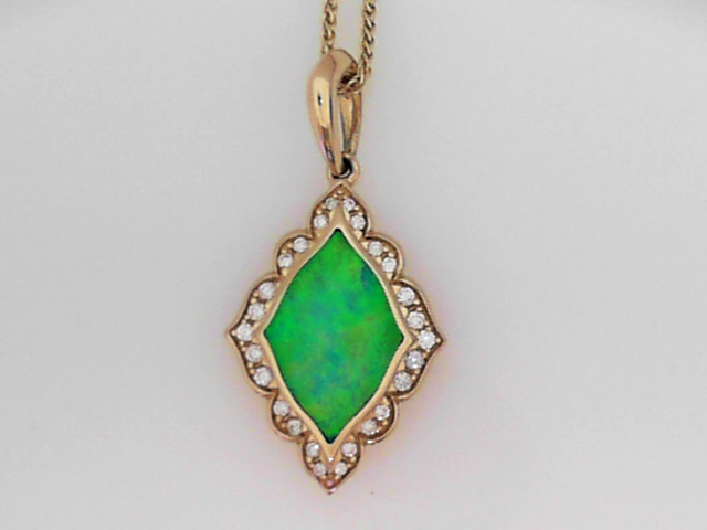 Pendants - 14K Y Navette Form Pendant With Top Crystal Natural Fine Australian Opal Center Framed In Diamonds O An 18