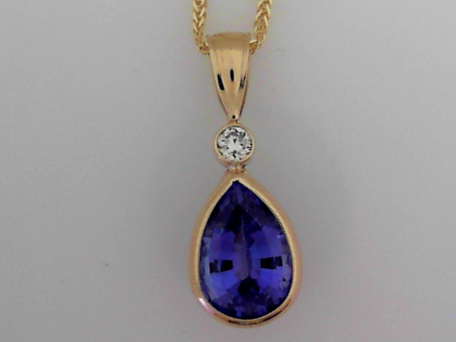 Pendants - Handmade 14K Y Pear Shape Tanzanite Pendant With Diamond Accent On a 14K Y 18-Inch Chain, 2.77 Carats Total Weight