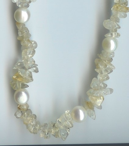 Necklace - STERLING SILVER YELLOW BEAD/PRL NECKLACE