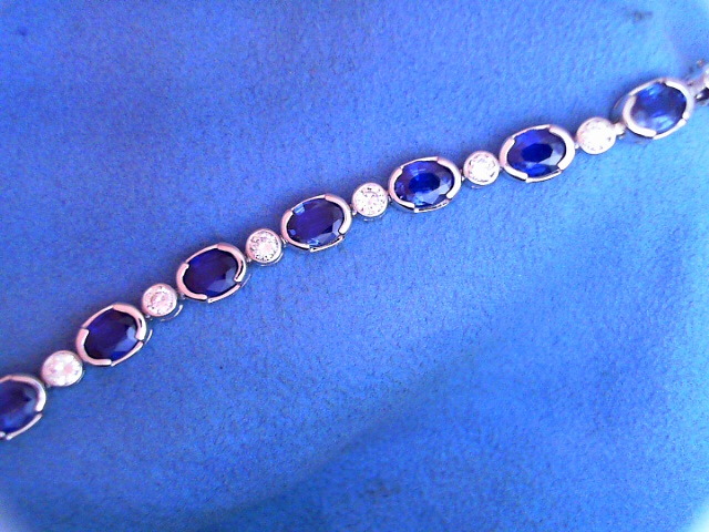 Bracelet - 14KY Straight-Line Bracelet With Blue Sapphires Totaling 14.53 Ct And Diamonds Totaling 1.87 Ct