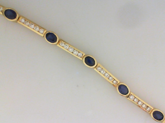 Bracelet - 14KY CHANNEL DIAMOND AND BEZEL SAPPHIRE 7 INCH    BRACELET WITH 3.92CTW OV SAPHS AND 1.62 CTW DIA
