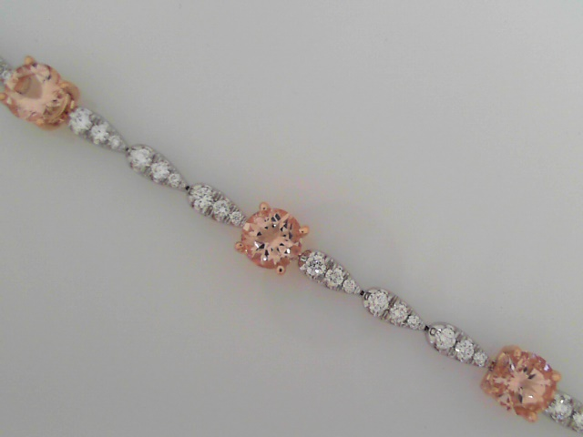 Bracelet - 14K White And Pink Gold Bracelet With Diamond And Morganite Links, Invisible Tongue Clasp And Fold Over Safety
