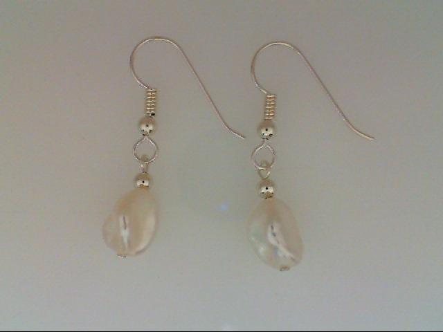 Pearl Earrings - Sterling Silver White Nugget Freshwater Pearl Wire Drop Earrings