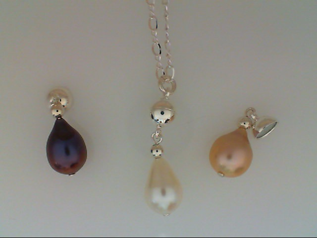 Pearl Pendants - Sterling Silver Magnetic Interchangable 3 Color Freshwater Pearl Drop Pendant