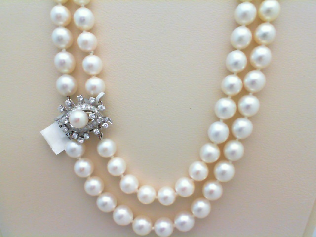 Strand - Double-Strand Necklace Of 7.5 - 8.0mm Fine White Cultured Pearls With 0.90 Ctw Diamond Clasp