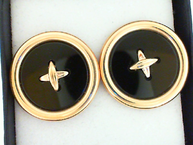 Earrings - 14K Gold Onyx Button Look Earrings