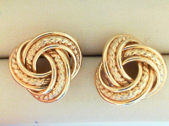 Earrings - 14K Gold Textured Large Love Knot Earrings